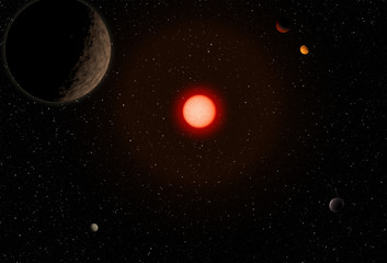 Outer space with planet and big red star