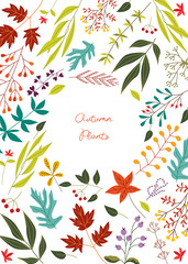 Autumn colorful leaves and berries with empty white circle text area in centre - fall botanical banner or card in flat vector illustration. Natural seasonal decorative element.
