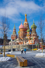 MOSCOW, RUSSIA - February, 2018: Saint Basil's Cathedral, view from Zaryadye Park