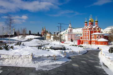 """MOSCOW, RUSSIA -  FEBRUARY 2018: View on Cathedral of the icon of the Mother of God """"Sign"""" of the former Znamensky monastery on winter season"""
