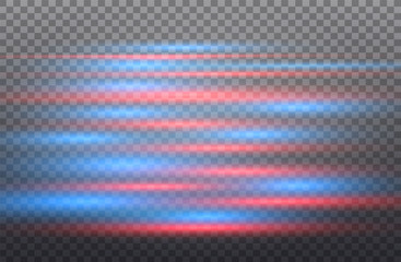 Vector red and blue special effect. Luminous stripes on a transparent background. Beautiful glow glow and spark.particle motion.