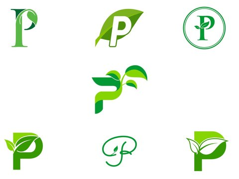 leaf initials P logo set, natural green leaf symbol, initials P icon design