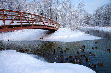 Winter landscape with river Yauza in Moscow
