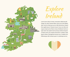 Irish map with symbols of Ireland, destinations