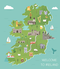 Irish map with symbols of Ireland, destinations
