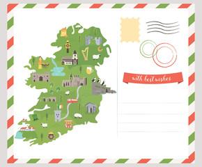 Postcard Irish map. Symbols of Ireland