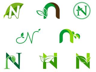 leaf initials N logo set, natural green leaf symbol, initials N icon design