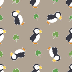 Irish shamrock, clovers, puffins pattern.