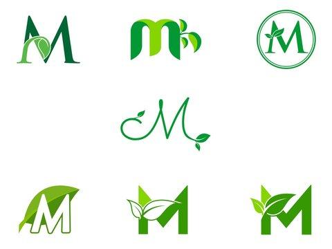 leaf initials M logo set, natural green leaf symbol, initials M icon design