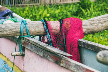 Part of the fishing boat and fishing net at Sri Lanka.