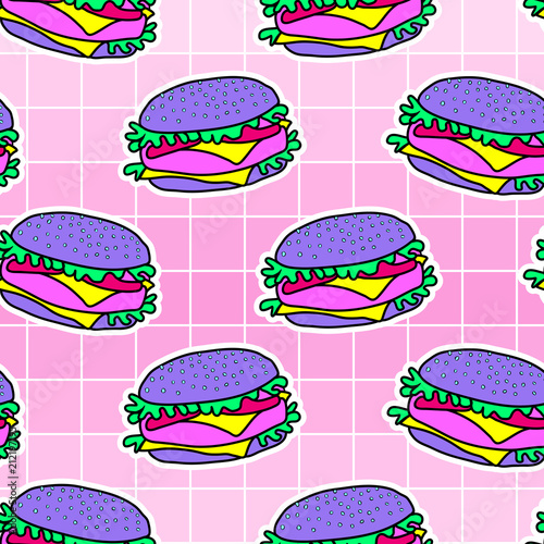 Acid Psychedelic Burger Seamless Pattern Hamburger Fast Food