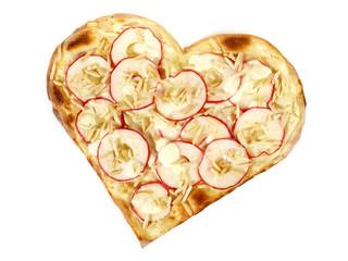 Flammkuchen Herz mit Apfel