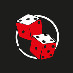 Two dice in white and red scale on dark background. Fortune icon or symbol for gamble.