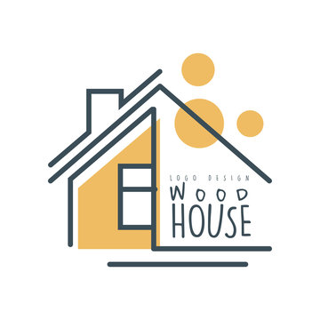 Wood house logo template design, eco friendly house concept vector Illustration on a white background