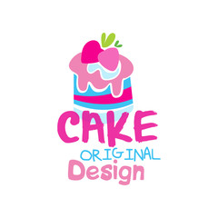 Cake original logo design, emblem in pink colors for confectionery, candy shop or sweet store vector Illustration on a white background