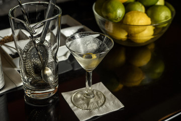 martini glass and mixer on a bar.
