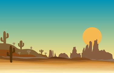 western scene in desert with cactus