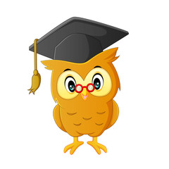 Cute owl cartoon at graduation
