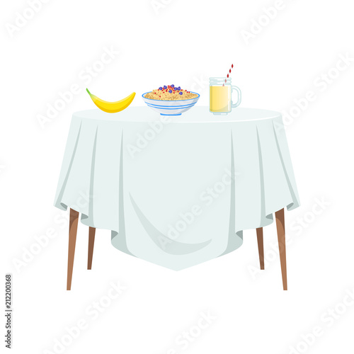 Round Table With Tablecloth.Round Table With White Tablecloth And Food For Breakfast Vector