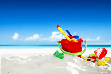 summer toys on beach and free space