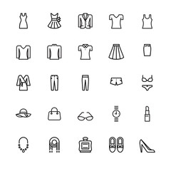 Women's clothing and personal accessories, icons ,vector and illustration