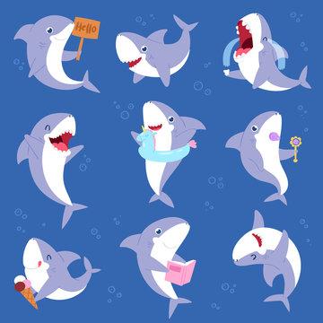 Shark vector cartoon seafish smiling with sharp teeth illustration set of fishery character illustration kids set of playing or crying baby fish isolated on marine background