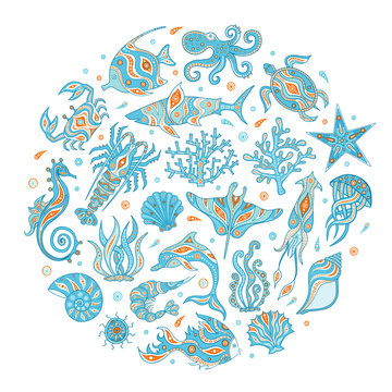 Animals marine depths vector. A hand-drawn set of underwater inhabitants. Set of doodle icons on the sea theme. Life of the ocean.