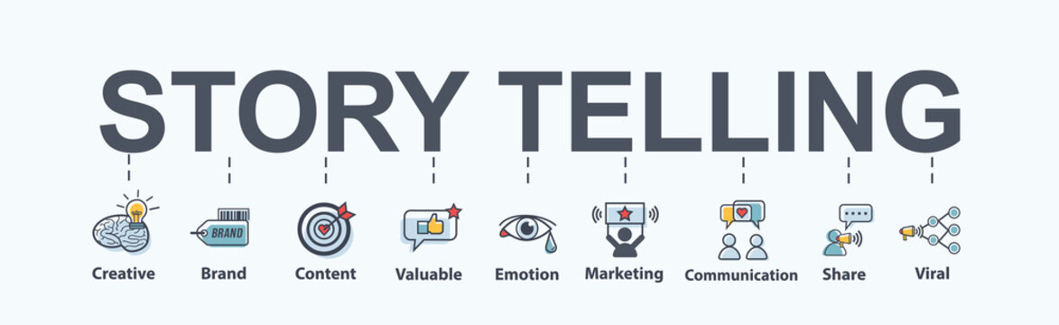 Story telling banner web icon for business and marketing, brand, content, share, Emotion, valuable and viral. Minimal vector infographic.