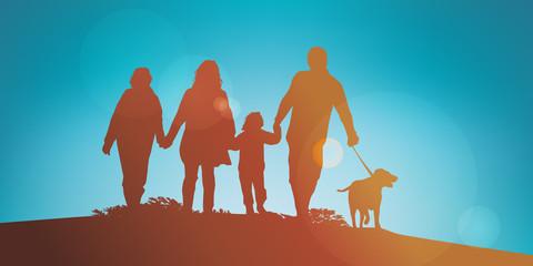 famille - parent - enfant - promenade - soleil - amour - unie - concept - bonheur - heureuse