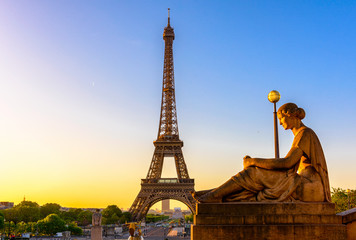 View of Eiffel Tower from Jardins du Trocadero in Paris, France. Eiffel Tower is one of the most iconic landmarks of Paris