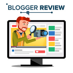 Testing Video Blogger Vector. Blog Channel. Man Popular Video Streamer Blogger. Review Concept. Online Live Broadcast. In Web Interface. Testing Functional With New Camera. Illustration