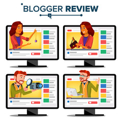 Blogger Review Concept Vector. Video Blog Channel. Man, Woman Popular Video Streamer Blogger. Recording. Online Live Broadcast. Testing Functional. Fashion. Cartoon Illustration