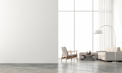 Minimal style  living room 3d render.There are concrete floor,white wall.Finished with beige color furniture,The room has large windows. Looking out to see the scenery outside. Wall mural
