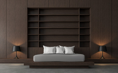 Modern contemporary loft bedroom 3d render,There are polished concrete floor and wood wall.Furnished with gray fabric bed and black lamp.
