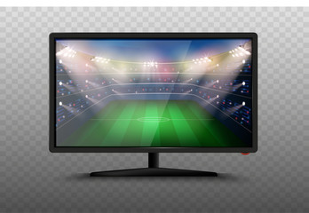 Modern smart TV set 3d vector illustration. Isolated realistic icons on transparent background. LCD Plasma screen with football stadium. Soccer world cup match. Sport news on tv.