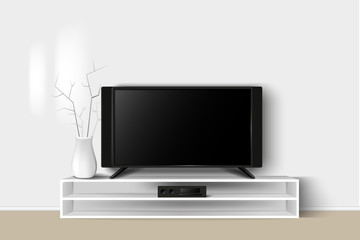 Vector 3d illustration of LED TV stand on a wooden table. House living room modern interior design. Copy space template.