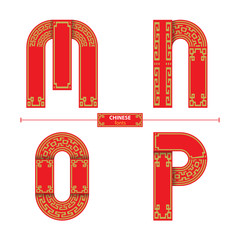 Alphabet chinese style in a set MNOP
