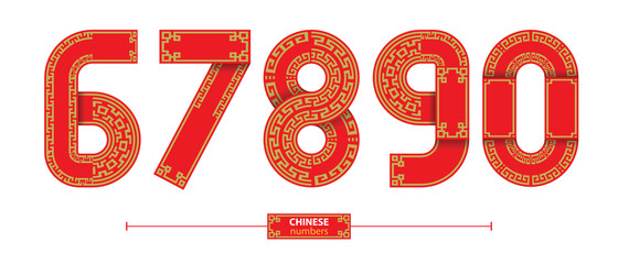 Numbers chinese style in a set 67890