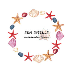 Watercolor aquatic round frame with sea shells, starfish and stones. Hand drawn illustration isolated on white background.