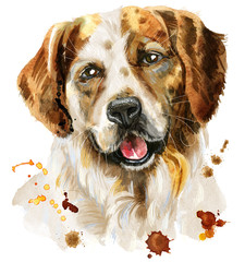 Watercolor portrait of tricolor dog with splashes