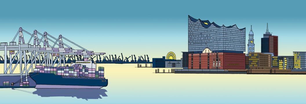 Hamburger Hafen mit Elbphilharmonie,  Terminalhafen mit Containerschiff, Michel und Hanseatic Trade Center, cartoon-IT