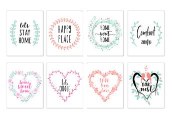 Home quotes, wall art prints, vector set