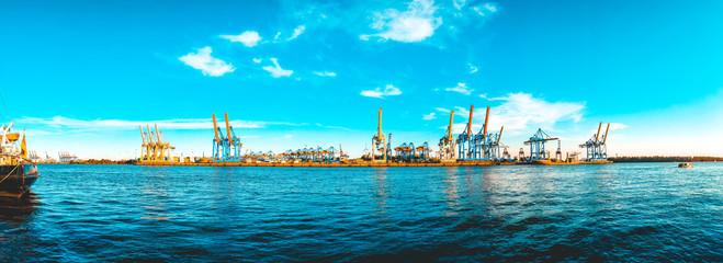 180 degree panorama of port at elbe river, hamburg