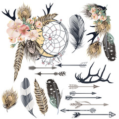 Fashion set tribal vector boho design elements