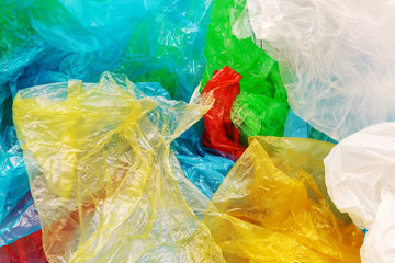 Pile of colorful plastic bags