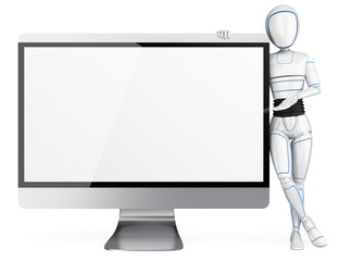 3D Humanoid robot leaning on a big blank screen
