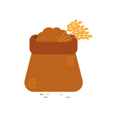 Opened canvas sack full of grain - symbol of textile bag filled with bulk materials and wheat ears. Farming stuff with crop in vector illustration isolated on white background.