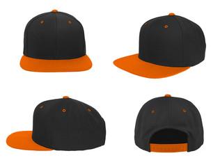 Blank baseball snap back cap two tone color black/orange on white background