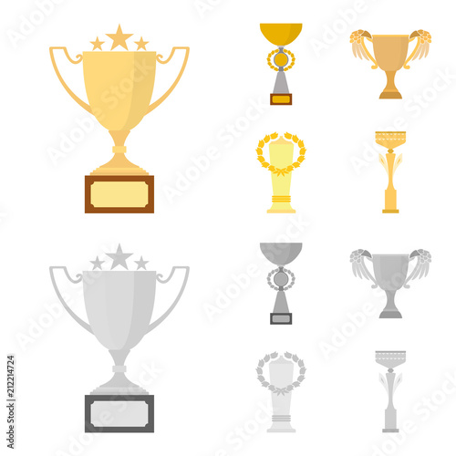 Gold Cup Cartoonmonochrome Icons In Set Collection For Design