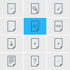 Vector illustration of 12 file icons line style. Editable set of download, css, add and other icon elements.